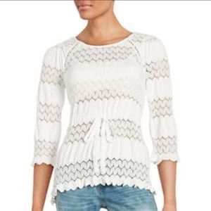 Free People White Fire Island Lace Sweater Size S Women's 3/4 Flare Sleeve